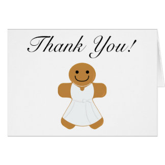 Gingerbread Woman in White Dress thank you Card