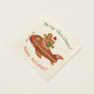 Gingerbread Xmas Airplane Cartoon Paper Serviettes