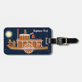 Gingerbread Xmas Steamboat Cartoon Luggage Tag