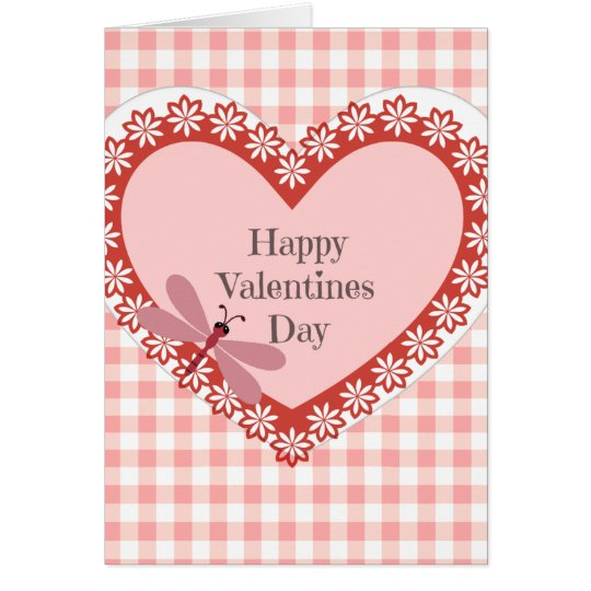 Gingham and Dragonfly Valentines Day Card