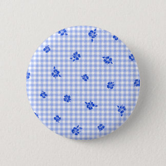 Gingham and Roses 2 6 Cm Round Badge