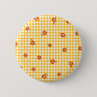 Gingham and Roses 4 6 Cm Round Badge