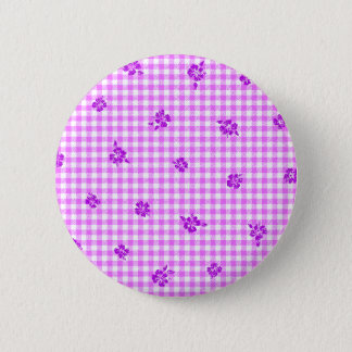 Gingham and Roses 5 6 Cm Round Badge
