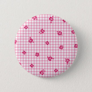 Gingham and Roses 6 Cm Round Badge