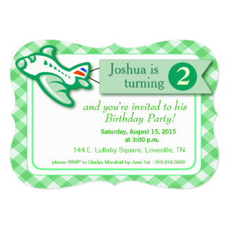 "Gingham Banner Plane Birthday | mint green 5"" X 7"" Invitation Card"