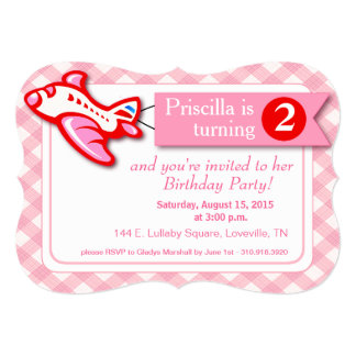 "Gingham Banner Plane Birthday | pink red 5"" X 7"" Invitation Card"