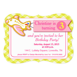 "Gingham Banner Plane Birthday | pink yellow 5"" X 7"" Invitation Card"