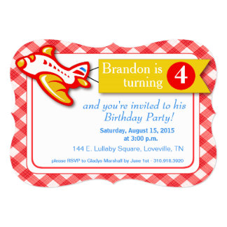 "Gingham Banner Plane Birthday | red yellow 5"" X 7"" Invitation Card"