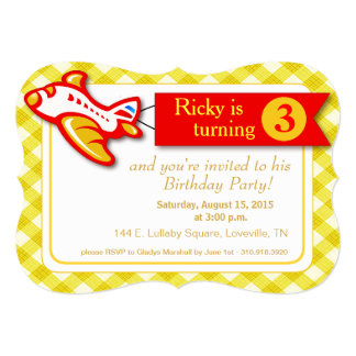 "Gingham Banner Plane Birthday | yellow red 5"" X 7"" Invitation Card"