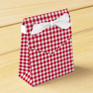 Gingham-Berry-Red-Favor Box, Tent Party Favour Boxes