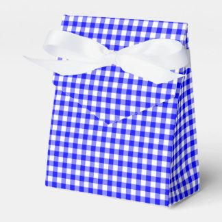Gingham-Bright Blue-Favor Box, Tent Wedding Favour Boxes
