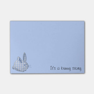 gingham bunny - blue sticky notes