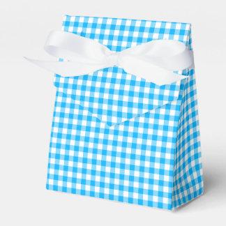 Gingham-Caribbean Blue-Favor Box, Tent Party Favour Box