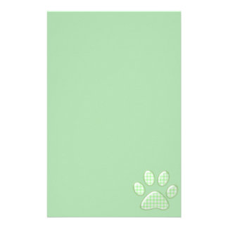 gingham cat paw - green personalized stationery