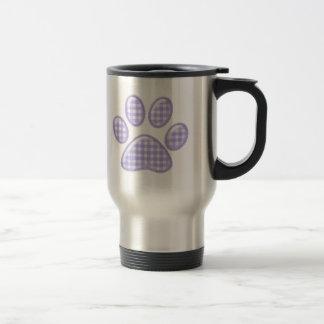 gingham cat paw - purple travel mug