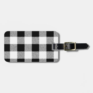 Gingham check pattern black and white luggage tag