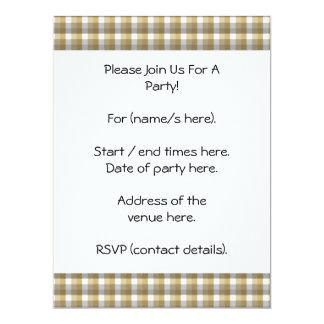 Gingham check pattern. Gray, Brown and White. 17 Cm X 22 Cm Invitation Card