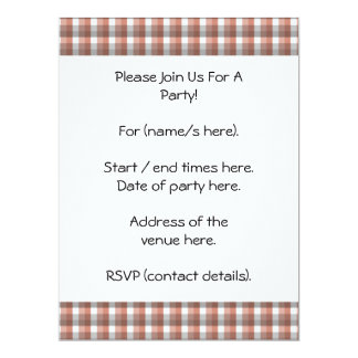 Gingham check pattern. Gray, Red - Brown White Invitation