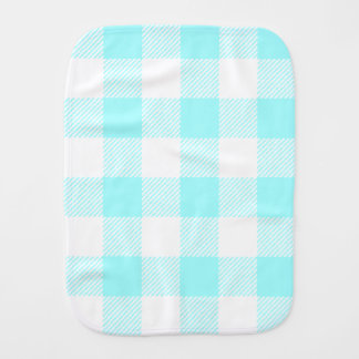 Gingham Check Pattern (light blue) Baby Burp Cloths