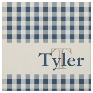 Gingham Check Pattern Monogram Custom Boy's Fabric