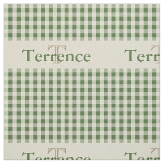 Gingham Check Pattern Monogram Sage Green Boys Fabric