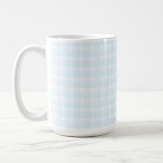 Gingham check pattern. Pale Blue and White. Basic White Mug