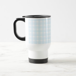 Gingham check pattern. Pale Blue and White. Coffee Mug
