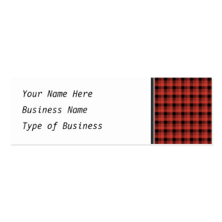 Gingham check pattern. Red and Black Plaid Pack Of Skinny Business Cards