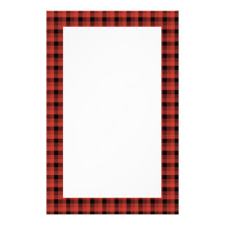 Gingham check pattern. Red and Black Plaid Stationery