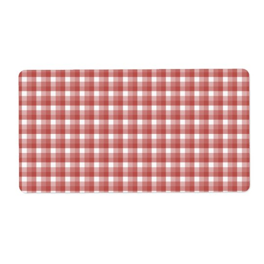 Gingham check pattern. Red and White. Shipping Label