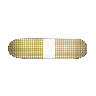 Gingham check pattern. Tan and White. Skate Deck