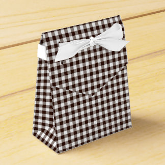 Gingham-Dark Brown-Favor Box, Tent Party Favour Boxes