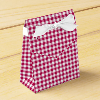 Gingham-Dark Pink-Favor Box, Tent Favour Box