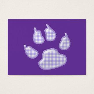 gingham dog paw - purple business card
