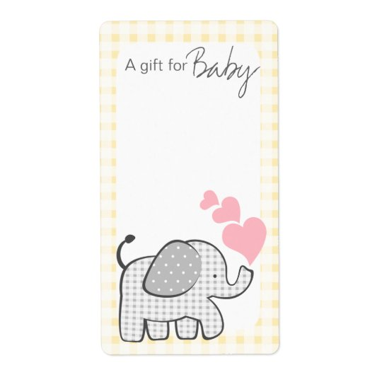 Gingham Elephant Book Tags Shipping Label