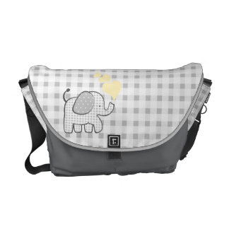 Gingham Elephant Gray with Yellow Hearts Messenger Bag