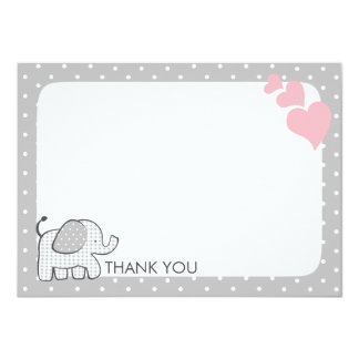 Gingham Elephant Pink Baby Thank you Card