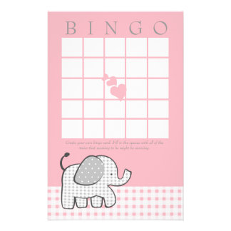Gingham Elephant Pink Bingo Card