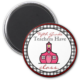 Gingham Fifth Grade Teacher Magnet