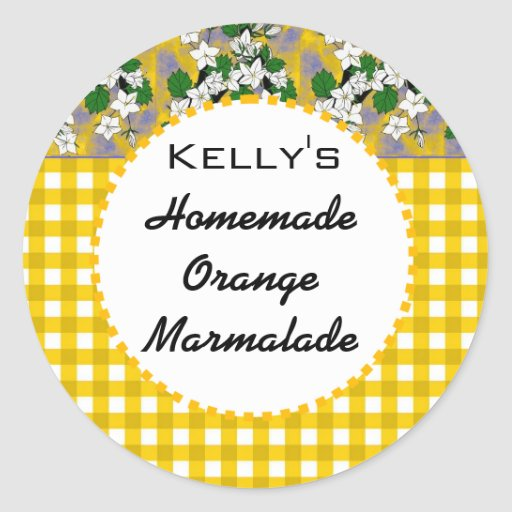 Gingham floral orange marmalade label stickers
