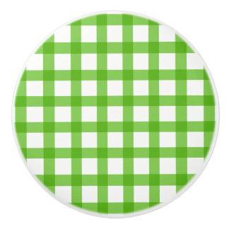 Gingham Green Pattern Ceramic Knob