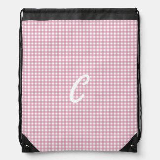 Gingham in Pink Drawstring Bag