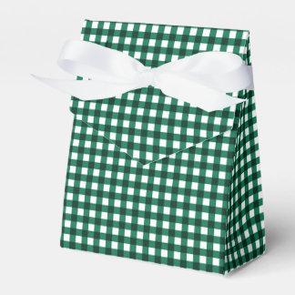 Gingham-Jade Green-Favor Box, Tent Wedding Favour Box