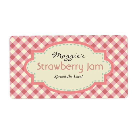 Gingham Jam Jar Labels, Customise Shipping Label