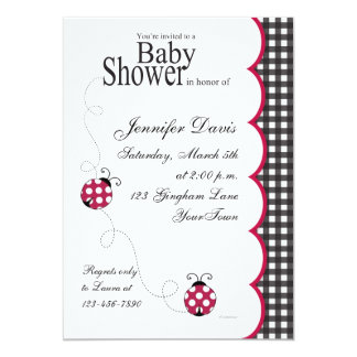 Gingham Lady Bug Baby Shower Invitation