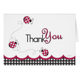 Gingham Ladybug Thank You Card