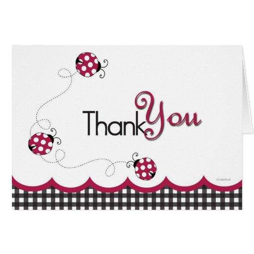 Gingham Ladybug Thank You Card