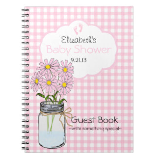 Gingham-Mason Jar- Baby Shower Guest Book- Notebook