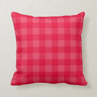 Gingham pattern red throw pillow