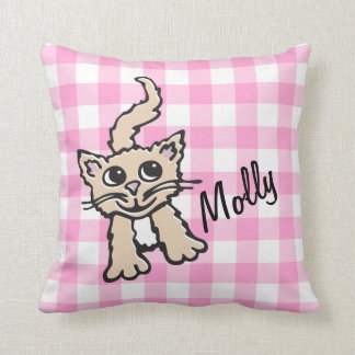 Gingham patterned cat pink & white throw pillow throw cushions